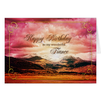 Fiance birthday, Sunset over the mountains Card