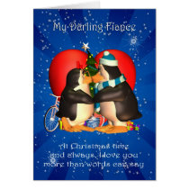 Fiance Christmas Card With Kissing Penguins Heart
