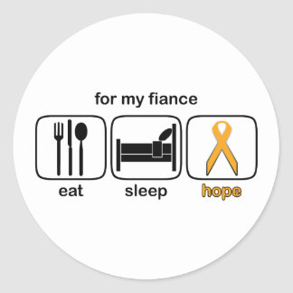 Fiance Eat Sleep Hope - Leukemia Classic Round Sticker
