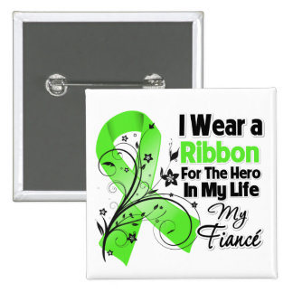 Fiance Hero in My Life Lymphoma Ribbon 2 Inch Square Button