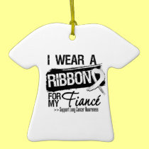 Fiance Lung Cancer Ribbon Christmas Tree Ornaments