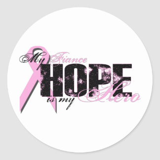 Fiance My Hero - Breast Cancer Hope Classic Round Sticker