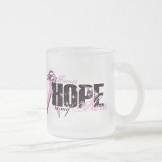 Fiance My Hero - Breast Cancer Hope 10 Oz Frosted Glass Coffee Mug