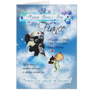 Fiance Nurse's Day cute little baby and cute nurse Card