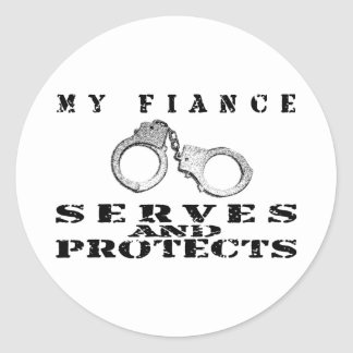 Fiance Serves Protects - Hat Classic Round Sticker