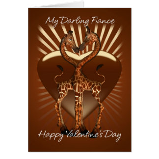 Fiance Valentine's Day Card With Two Loving Giraff