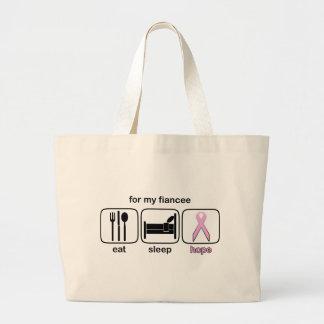 Fiancee Eat Sleep Hope - Breast Cancer Bags