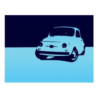 Fiat 500, 1959 - azul del Lt en la postal oscura