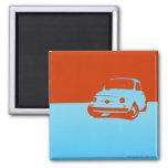 Fiat 500, 1959 - azul del Lt en oscuridad Imán Cuadrado