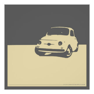 Fiat 500, 1959 - Cream on gray Poster