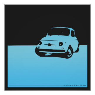 Fiat 500, 1959 - Light blue and black poster
