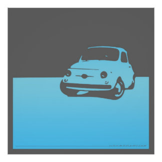 Fiat 500, 1959 - Light blue on gray Poster