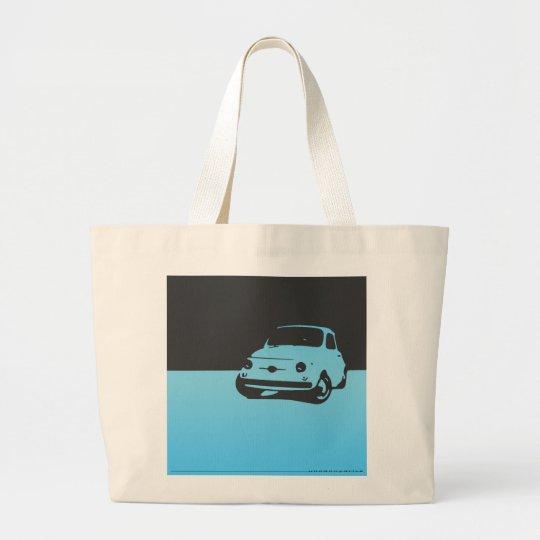 Fiat 500, 1959 - Lt blue on dark Large Tote Bag
