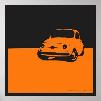 Fiat 500, 1959 - naranja en el poster negro