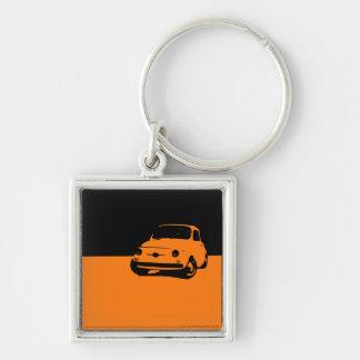 Fiat 500, 1959 - naranja en oscuridad llavero cuadrado plateado