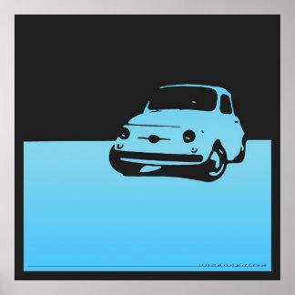 Fiat 500, 1959 - posters azules claros y negros