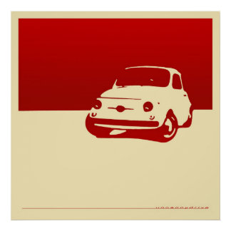 Fiat 500, 1959 - Red on cream poster