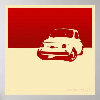 Fiat 500, 1959 - rojo en el poster poner crema