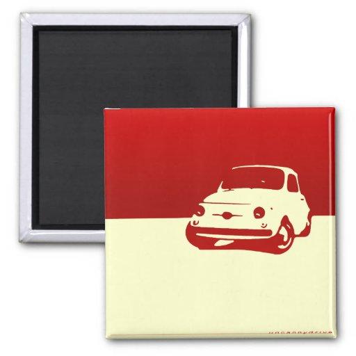 Fiat 500, 1959 - rojo en luz imán cuadrado