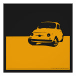 Fiat 500, 1959 - Yellow on charcoal black Poster