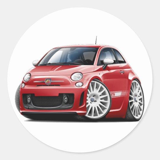 Fiat 500 Abarth Red Car Classic Round Sticker