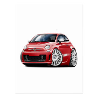Fiat 500 Abarth Red Car Postcard
