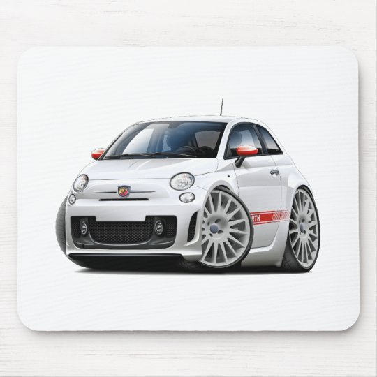 Fiat 500 Abarth White Car Mouse Pad