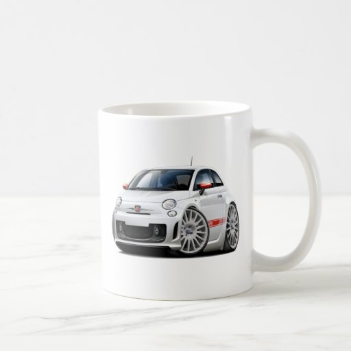 Fiat 500 Abarth White Car Mug