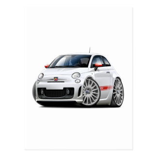 Fiat 500 Abarth White Car Postcard