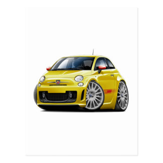 Fiat 500 Abarth Yellow Car Postcard
