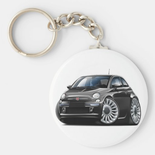Fiat 500 Black Car Key Chain
