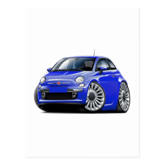 Fiat 500 Blue Car Postcard