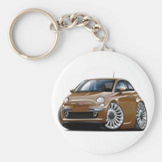 Fiat 500 Brown Car Keychain