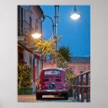 Fiat 500, cinquecento del vintage, en la noche, It Impresiones