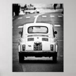 Fiat 500, cinquecento del vintage, poster de Roma