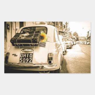 Fiat 500, Cinquecento en Italia, coche del vintage Pegatina Rectangular