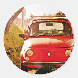 Fiat 500, Cinquecento en Italia Pegatina Redonda