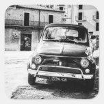 Fiat 500, cinquecento en Italia, regalo clásico Pegatina Cuadrada