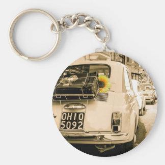 Fiat 500 Cinquecento en Italia, viaje de camino de Llavero Redondo Tipo Pin