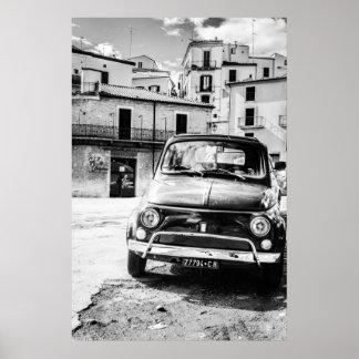 Fiat 500, cinquecento in Italy, classic car gift Poster
