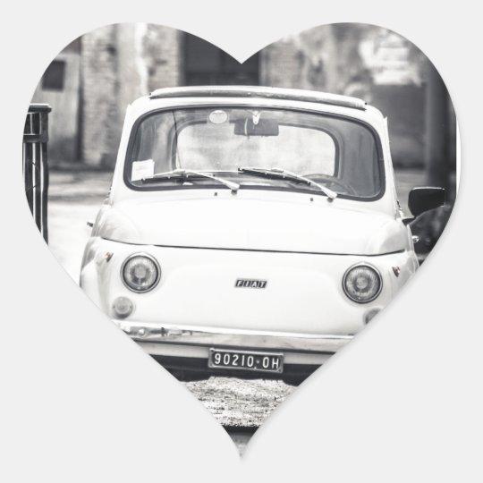 Fiat 500, Cinquecento in Italy Heart Sticker