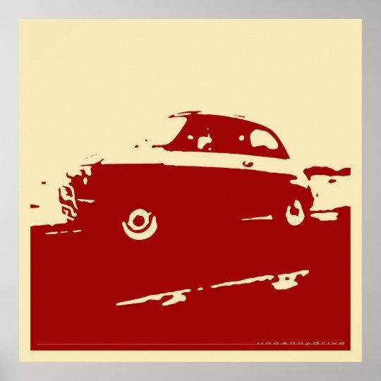 Fiat 500 classic - Dark red on cream poster
