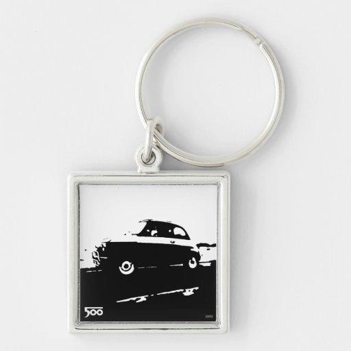 Fiat 500 classic keychain - Black on light