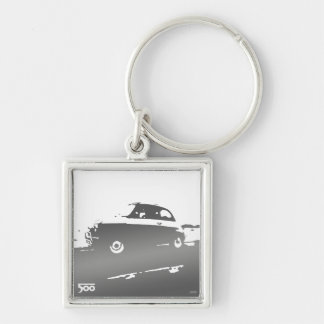 Fiat 500 classic keychain - gray on light
