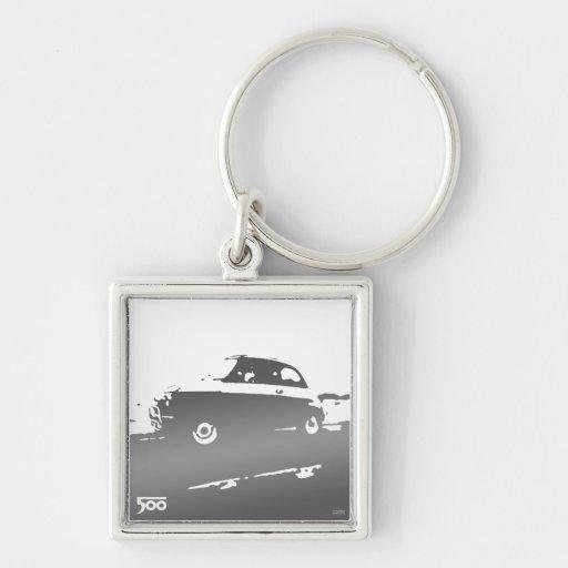 Fiat 500 classic keychain - gray on light