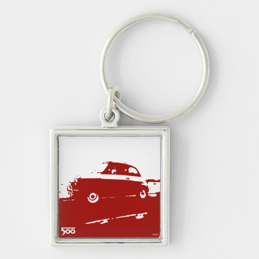 Fiat 500 classic keychain - red on light