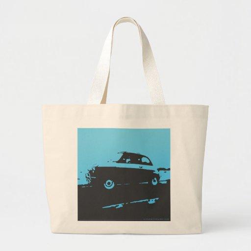 Fiat 500 classic - lt blue on dark bkgd totebag canvas bag
