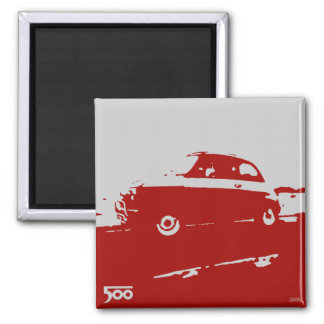 Fiat 500 classic magnet - Red on light