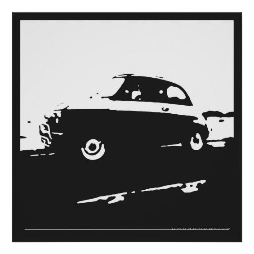 Fiat 500 classic - White on charcoal background Poster