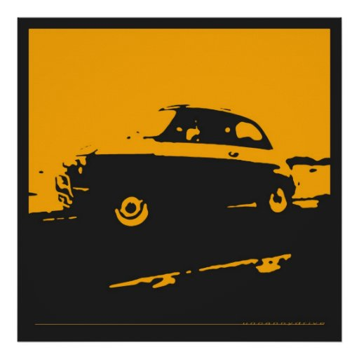 Fiat 500 classic - Yellow on black poster